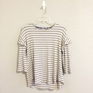Anthropologie Dolan Gray Black Striped Ruffle Top